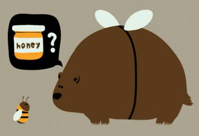 orso goloso, ingegnoso, costume, ape, miele