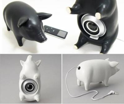 piggy, stereo, casse, musica, accessori pc, fun